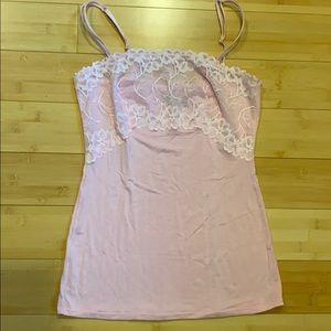 Felina Pink Lace Super Soft Camisole Tank Sz Small
